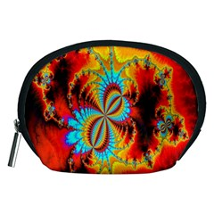 Crazy Mandelbrot Fractal Red Yellow Turquoise Accessory Pouches (Medium)