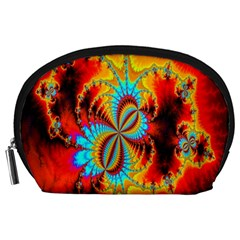 Crazy Mandelbrot Fractal Red Yellow Turquoise Accessory Pouches (Large)