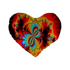 Crazy Mandelbrot Fractal Red Yellow Turquoise Standard 16  Premium Flano Heart Shape Cushions