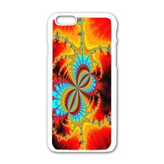 Crazy Mandelbrot Fractal Red Yellow Turquoise Apple iPhone 6/6S White Enamel Case