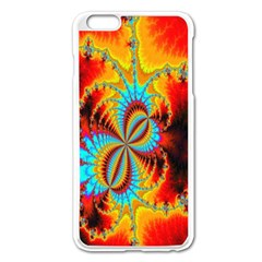 Crazy Mandelbrot Fractal Red Yellow Turquoise Apple iPhone 6 Plus/6S Plus Enamel White Case