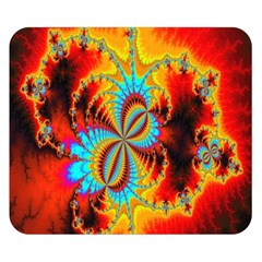 Crazy Mandelbrot Fractal Red Yellow Turquoise Double Sided Flano Blanket (Small)