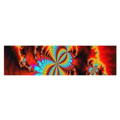 Crazy Mandelbrot Fractal Red Yellow Turquoise Satin Scarf (Oblong)