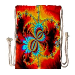 Crazy Mandelbrot Fractal Red Yellow Turquoise Drawstring Bag (large) by EDDArt