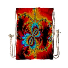 Crazy Mandelbrot Fractal Red Yellow Turquoise Drawstring Bag (small) by EDDArt