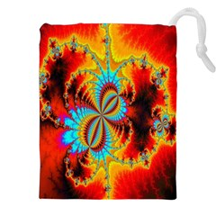 Crazy Mandelbrot Fractal Red Yellow Turquoise Drawstring Pouches (xxl) by EDDArt
