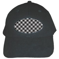 Modern Dots In Squares Mosaic Black White Black Cap by EDDArt