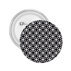 Modern Dots In Squares Mosaic Black White 2 25  Buttons