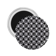 Modern Dots In Squares Mosaic Black White 2 25  Magnets by EDDArt
