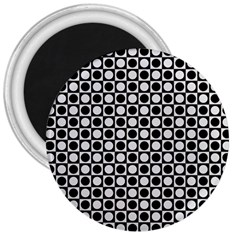 Modern Dots In Squares Mosaic Black White 3  Magnets by EDDArt