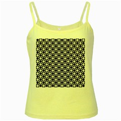 Modern Dots In Squares Mosaic Black White Yellow Spaghetti Tank by EDDArt