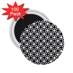 Modern Dots In Squares Mosaic Black White 2 25  Magnets (100 Pack)  by EDDArt