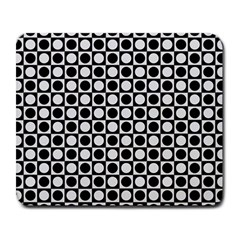 Modern Dots In Squares Mosaic Black White Large Mousepads by EDDArt
