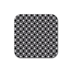 Modern Dots In Squares Mosaic Black White Rubber Coaster (square)  by EDDArt