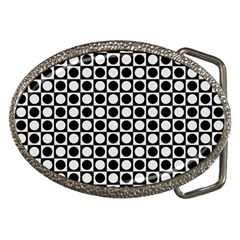 Modern Dots In Squares Mosaic Black White Belt Buckles by EDDArt