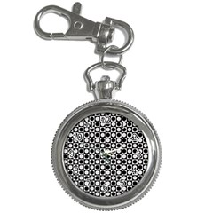 Modern Dots In Squares Mosaic Black White Key Chain Watches by EDDArt
