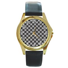 Modern Dots In Squares Mosaic Black White Round Gold Metal Watch by EDDArt