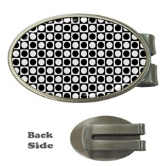 Modern Dots In Squares Mosaic Black White Money Clips (oval)  by EDDArt