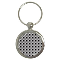 Modern Dots In Squares Mosaic Black White Key Chains (round)  by EDDArt