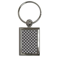 Modern Dots In Squares Mosaic Black White Key Chains (rectangle)  by EDDArt
