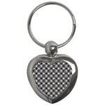 Modern Dots In Squares Mosaic Black White Key Chains (Heart)  Front