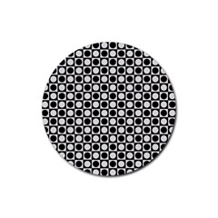 Modern Dots In Squares Mosaic Black White Rubber Round Coaster (4 Pack)  by EDDArt