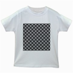 Modern Dots In Squares Mosaic Black White Kids White T Shirts by EDDArt