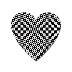 Modern Dots In Squares Mosaic Black White Heart Magnet by EDDArt