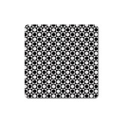 Modern Dots In Squares Mosaic Black White Square Magnet by EDDArt
