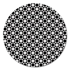 Modern Dots In Squares Mosaic Black White Magnet 5  (round) by EDDArt
