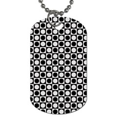 Modern Dots In Squares Mosaic Black White Dog Tag (one Side) by EDDArt
