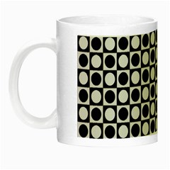 Modern Dots In Squares Mosaic Black White Night Luminous Mugs by EDDArt