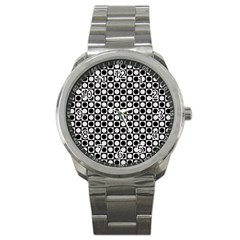 Modern Dots In Squares Mosaic Black White Sport Metal Watch by EDDArt