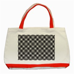 Modern Dots In Squares Mosaic Black White Classic Tote Bag (red) by EDDArt