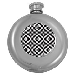 Modern Dots In Squares Mosaic Black White Round Hip Flask (5 Oz) by EDDArt
