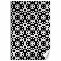 Modern Dots In Squares Mosaic Black White Canvas 20  X 30   by EDDArt