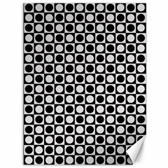 Modern Dots In Squares Mosaic Black White Canvas 36  X 48   by EDDArt