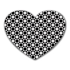 Modern Dots In Squares Mosaic Black White Heart Mousepads