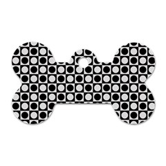 Modern Dots In Squares Mosaic Black White Dog Tag Bone (two Sides)