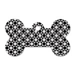 Modern Dots In Squares Mosaic Black White Dog Tag Bone (Two Sides) Front