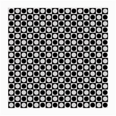 Modern Dots In Squares Mosaic Black White Medium Glasses Cloth (2 Side) by EDDArt