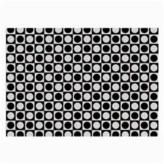 Modern Dots In Squares Mosaic Black White Large Glasses Cloth (2 Side) by EDDArt