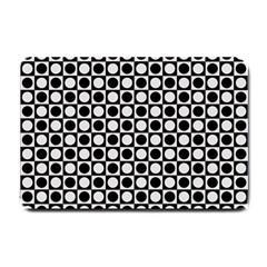 Modern Dots In Squares Mosaic Black White Small Doormat  by EDDArt