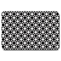 Modern Dots In Squares Mosaic Black White Large Doormat  by EDDArt