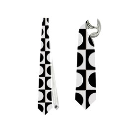 Modern Dots In Squares Mosaic Black White Neckties (one Side)  by EDDArt