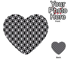 Modern Dots In Squares Mosaic Black White Multi Purpose Cards (heart)  by EDDArt