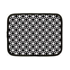 Modern Dots In Squares Mosaic Black White Netbook Case (small)  by EDDArt