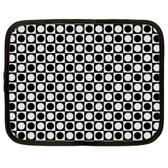 Modern Dots In Squares Mosaic Black White Netbook Case (large) by EDDArt