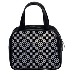 Modern Dots In Squares Mosaic Black White Classic Handbags (2 Sides) by EDDArt