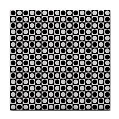 Modern Dots In Squares Mosaic Black White Face Towel by EDDArt